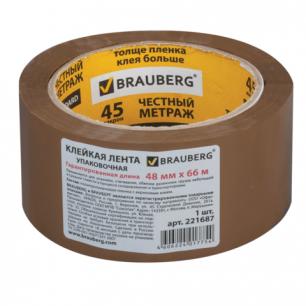 Клейкая лента 48мм х 66м упаковочная BRAUBERG коричневая, гарантированная длина, 45мкм, арт.221687