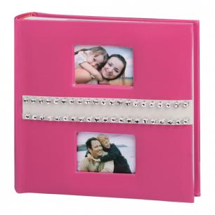 Фотоальбом BRAUBERG на 200 фото 10*15 см, индивид. бокс, бум. стр., 2 рамки д/фото, розовый, 390678