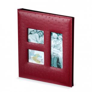 Фотоальбом BRAUBERG 20 магнитных листов, 23*28см, под кожу страуса, на кольцах, 3 рамки д/фото, 390692