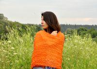 Женский шарф из натурального шёлка оранжевого цвета Москва