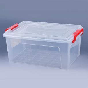 Ящик для хранения универсальный 14л, крышка на защелках, (в17,8*ш42,7*г28,9см), прозрачный, М2866