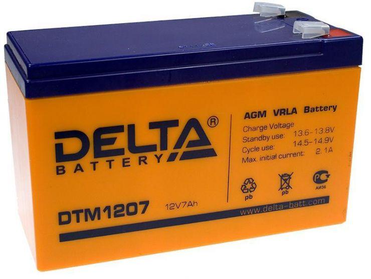 Аккумулятор свинцово-кислотный АКБ DELTA (Дельта) DTM 1207 12 Вольт 7 Ач