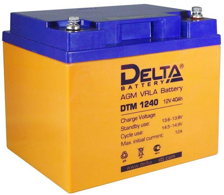 Аккумулятор свинцово-кислотный АКБ DELTA (Дельта) DTM 1240 L 12 Вольт 40 Ач