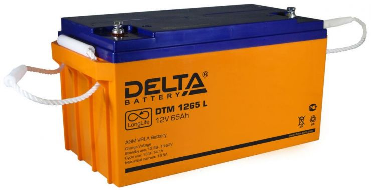 Аккумулятор свинцово-кислотный АКБ DELTA (Дельта) DTM 1265 L 12 Вольт 65 Ач