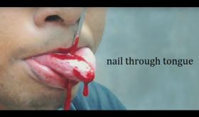 """Шокирующий трюк """"Гвоздь в языке"""" Nail Through Tongue (гиммик + искусственная кровь (18гр)"""