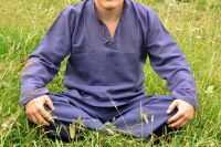 Мужские прямые летние штаны для йоги из органического хлопка, Индия. Синие