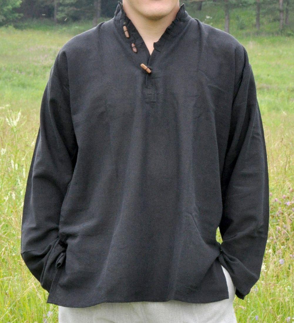 Чёрная мужская рубашка из органического хлопка (отправка из Индии)