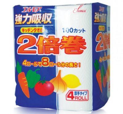 "170131 ""Kami Shodji"" ""ELLEMOI"" Бумажные полотенца для кухни 100 отрезков (2 рулона) 1/24"