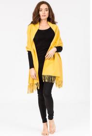 Роскошная классическая шотландская  шаль, высокая плотность, 100 % драгоценный кашемир , Солнечная расцветка (ярко-жёлтая) Mustard Yellow (премиум)