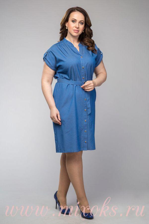 Платье рубашка из джинсовой ткани