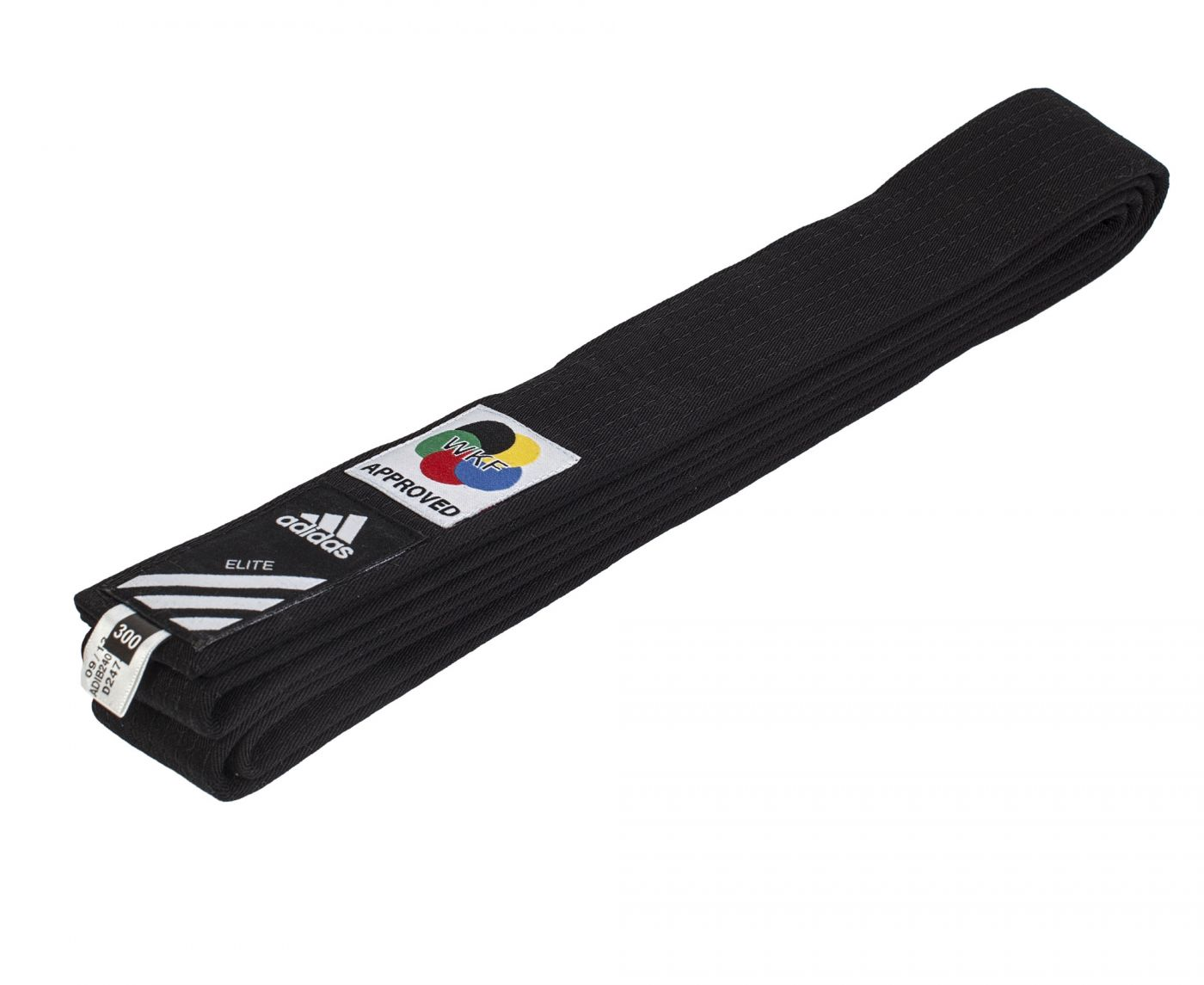 Пояс каратэ Adidas Elite WKF чёрный, длина 280 см, артикул adiB242K