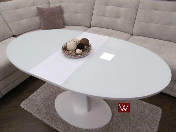 Овальный раскладной белоснежный стол-трансформер В 2332-1