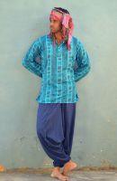 Мужская голубая хлопковая индийская рубашка с символом ОМ, Москва