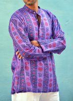 Мужская фиолетовая индийская рубашка с символом ОМ, Москва