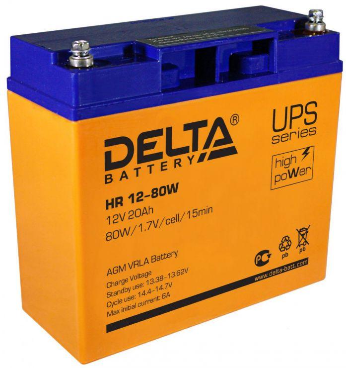 Аккумулятор свинцово-кислотный АКБ DELTA (Дельта) HR 12-80W 12 Вольт 20Ач