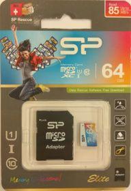 Карта памяти Silicon Power Elite 64Gb MicroSDHC Class 10 (R) до 85 MB/s UHS-I