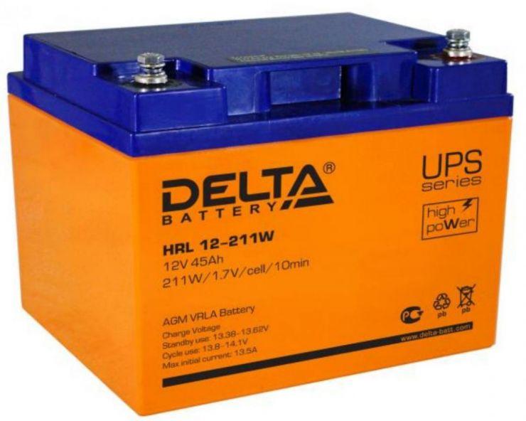 Аккумулятор свинцово-кислотный АКБ DELTA (Дельта) HRL 12-211W 12 Вольт 45Ач