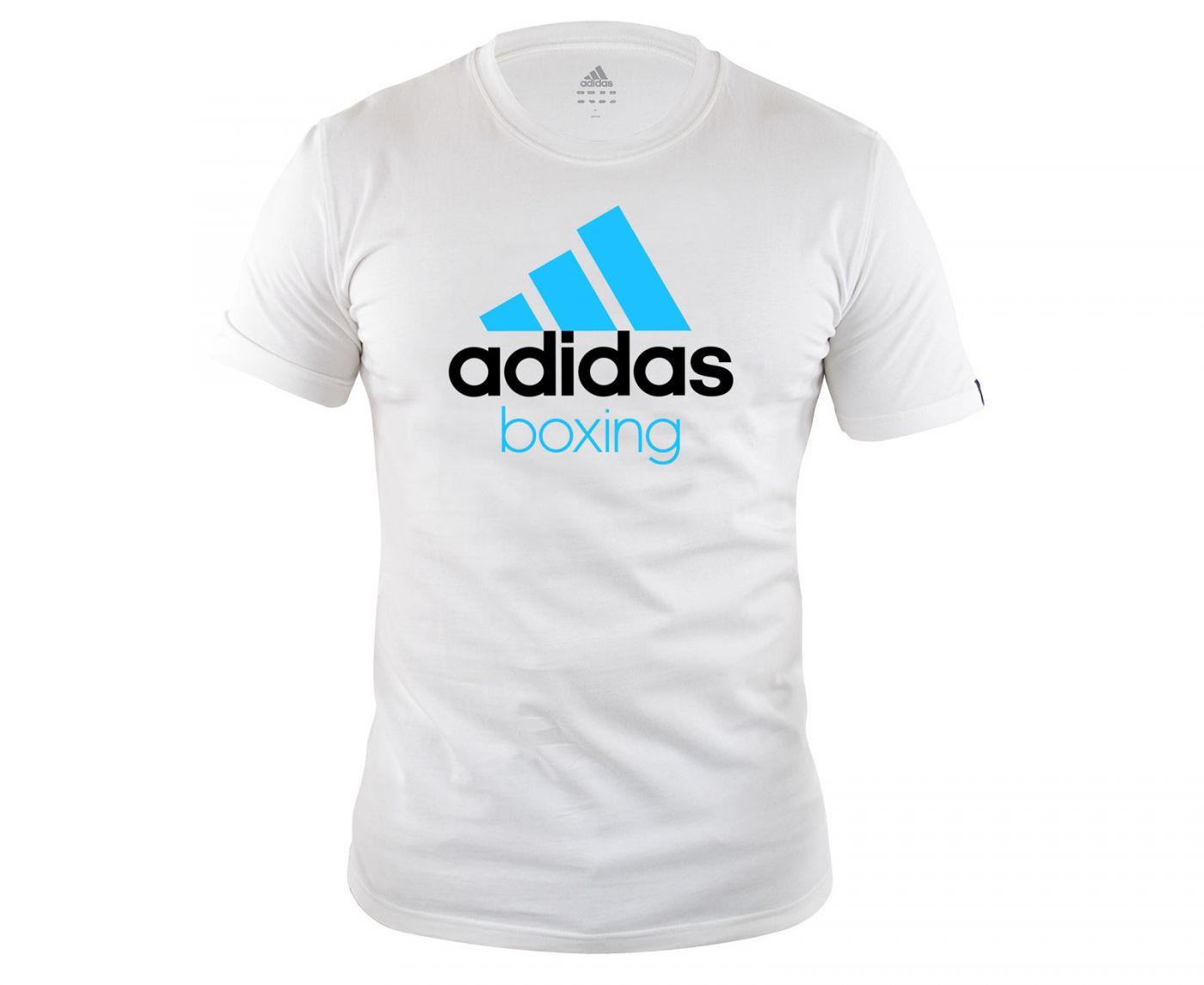 Футболка Adidas Community T-Shirt Boxing бело-синяя, размер М, артикул adiCTB