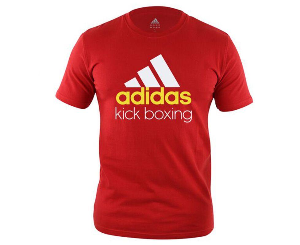Футболка Community T-Shirt Kickboxing красно-белая, размер L, артикул adiCTKB