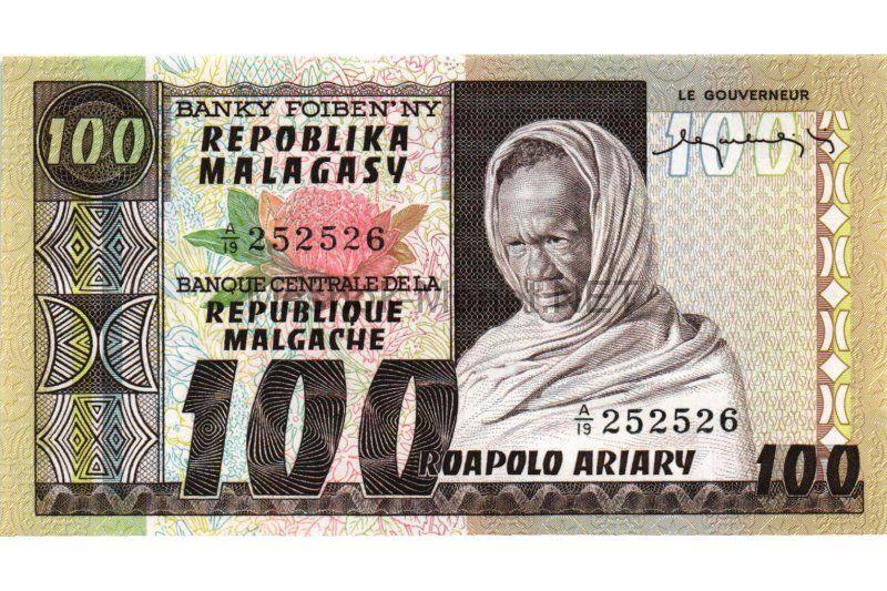 Банкнота Мадагаскар 100 ариари 1974 год