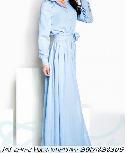 Длинное платья-рубашка с рукавами из коттона голубое