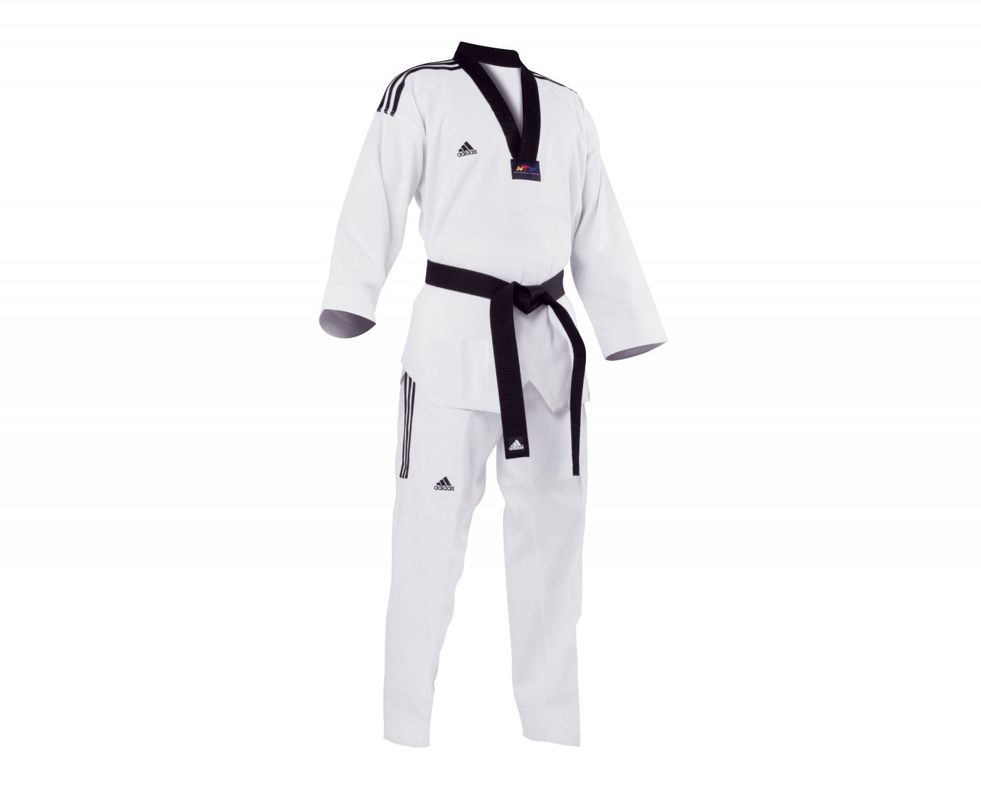 Униформа для Тэквон-до Adidas WTF Adi-GrandMaster 3 белый с черным воротником, размер 210 см, артикул adiTGM01-WH/BK
