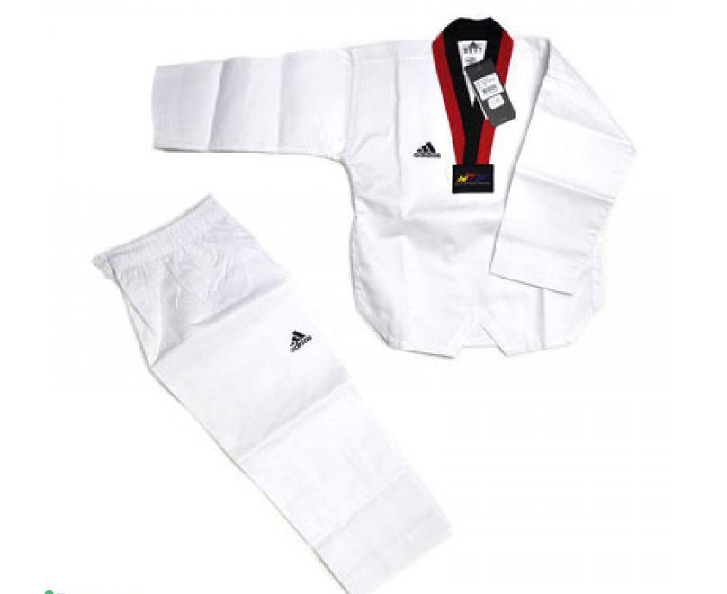 Униформа для Тэквон-до Adidas WTF Adi-Start белый с красно-черным воротником, размер 110 см, артикул adiTS01-WH/RD-BK