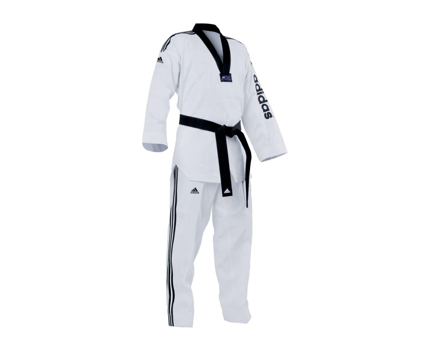 Униформа для Тэквон-до Adidas WTF Adi-SuperMaster 2 белый с черным воротником, размер 170 см, артикул adiTSM01-WH/BK