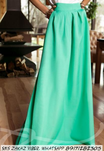 Длинная юбка с карманами Ментол