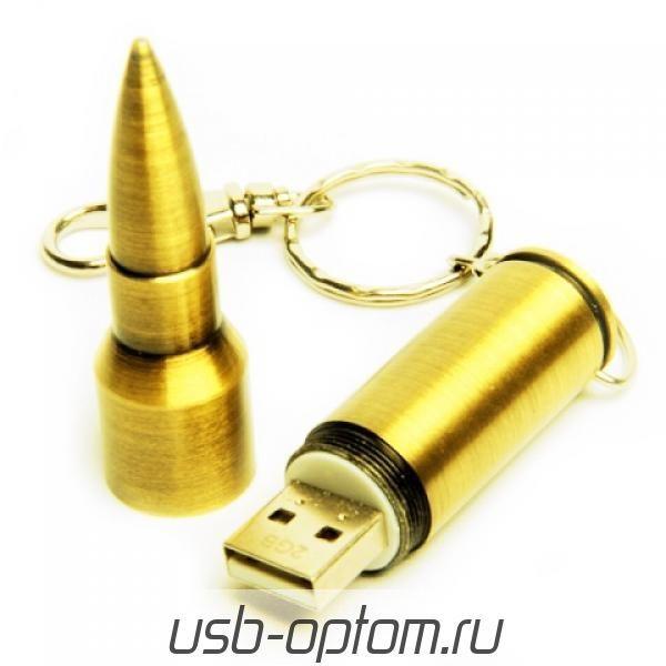 8GB USB-флэш накопитель Apexto UM-505A Пуля caliber 7.62, золотая