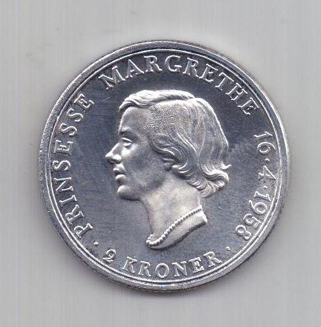 2 кроны 1958 г. AUNC. Дания