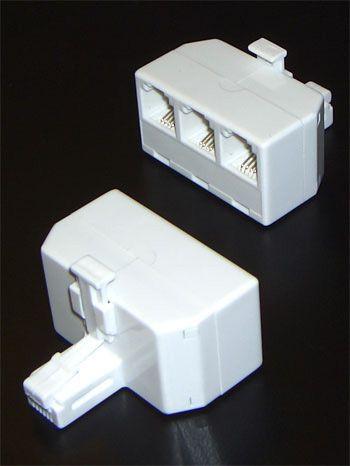 Телефонный адаптер - разветвитель 3 гнезда 6p4c + джек 6p4c T-7003-6p4c