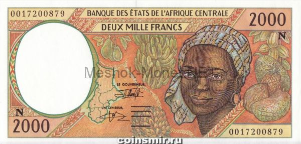 Банкнота Экваториальная Гвинея 2000 франков 2000 год