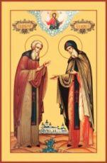 Икона Афанасий и Феодосий Череповецкие (рукописная)