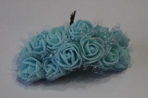 Цветы из фоамирана с органзой, 25 мм, 6х12шт, цвет: голубой