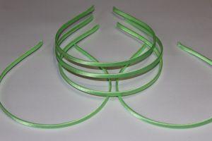 Ободок металл обтянутый тканью 5 мм, цвет: светло-зеленый (1уп = 12шт)