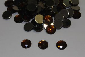 Стразы круглые, граненные, 12 мм, цвет № 13 коричневый (1 уп = 100 шт)