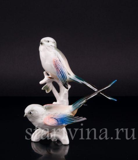 Фарфоровая статуэтка птиц Длиннохвостые синицы производства Karl Ens, Германия, 1950 гг.