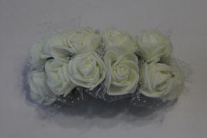 `Цветы из фоамирана с органзой, 25 мм, 11-12 цветков, цвет: белый