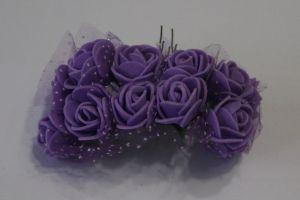 `Цветы из фоамирана с органзой, 25 мм, 11-12 цветков, цвет: фиолетовый