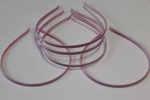 `Ободок металл обтянутый тканью 5 мм, цвет: розово-сиреневый