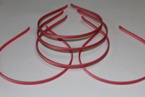 `Ободок металл обтянутый тканью 5 мм, цвет: арбузный