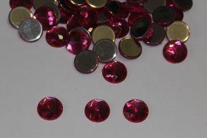 `Стразы круглые, граненные, 14 мм, цвет № 02 розовый (1 уп = 10 шт)
