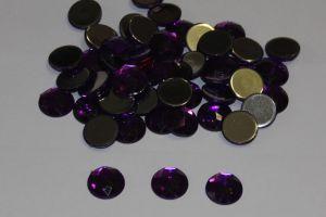 `Стразы круглые, граненные, 12 мм, цвет № 04 фиолетовый (1 уп = 10 шт)
