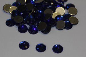 `Стразы круглые, граненные, 12 мм, цвет № 07 синий (1 уп = 10 шт)