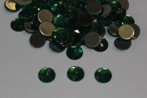 `Стразы круглые, граненные, 12 мм, цвет № 09 зеленый (1 уп = 10 шт)