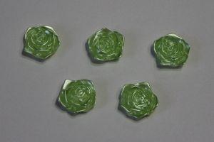 "`Кабошон ""Розочка"", диаметр 18 мм, цвет зеленый"