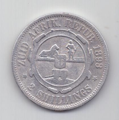 2 шиллинга 1893 г. редкий год. XF.  Трансвааль, Южная Африка