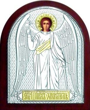 Серебряная с золочением икона Ангела Хранителя (9*11см., Россия)