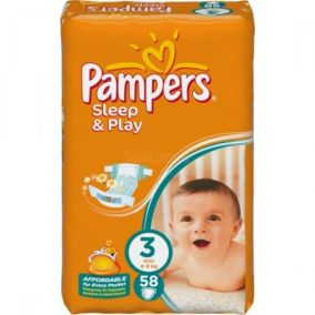Подгузники sleep & play Pampers ( 4-9кг) , 58шт